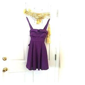 Retro pin up purple satin mini dress